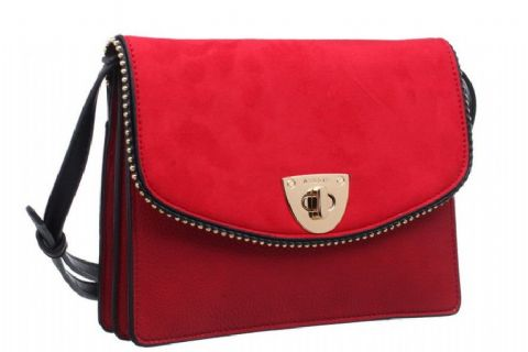 BESSIE LONDON Red  Two Tone Twist Lock Crossbody Bag